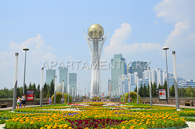 Architecture of Astana in Green water boulevard