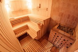 Sauna with pool